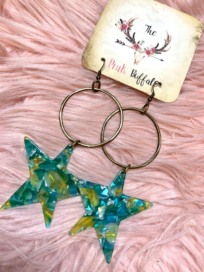Green Star Hoop Earrings