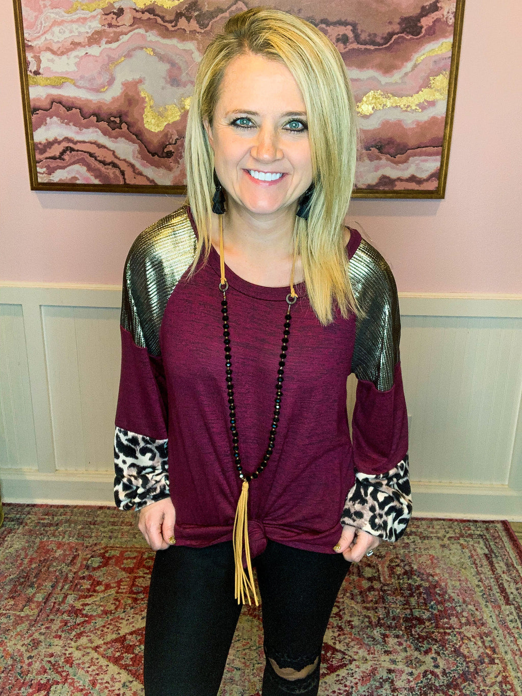 Burgundy Leopard Top