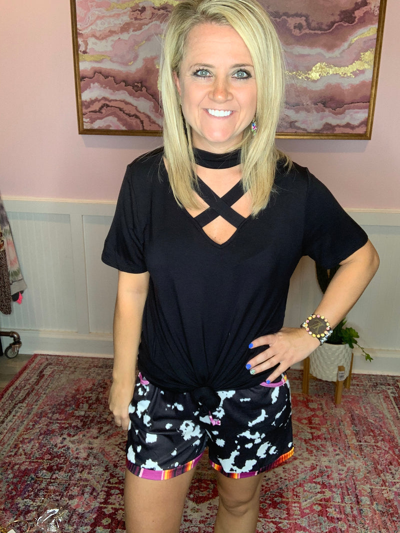 Criss-Cross Top-Black