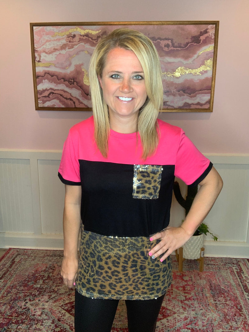 Hot Pink Leopard Pocket Top