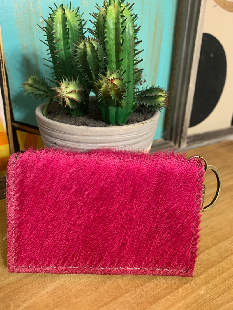 Upcycled Credit Card Holder-Hot Pink
