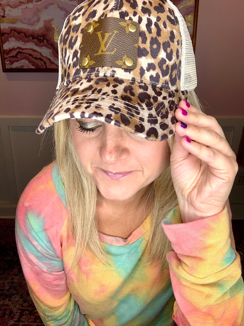 Upcycled Leopard Cap-Brown