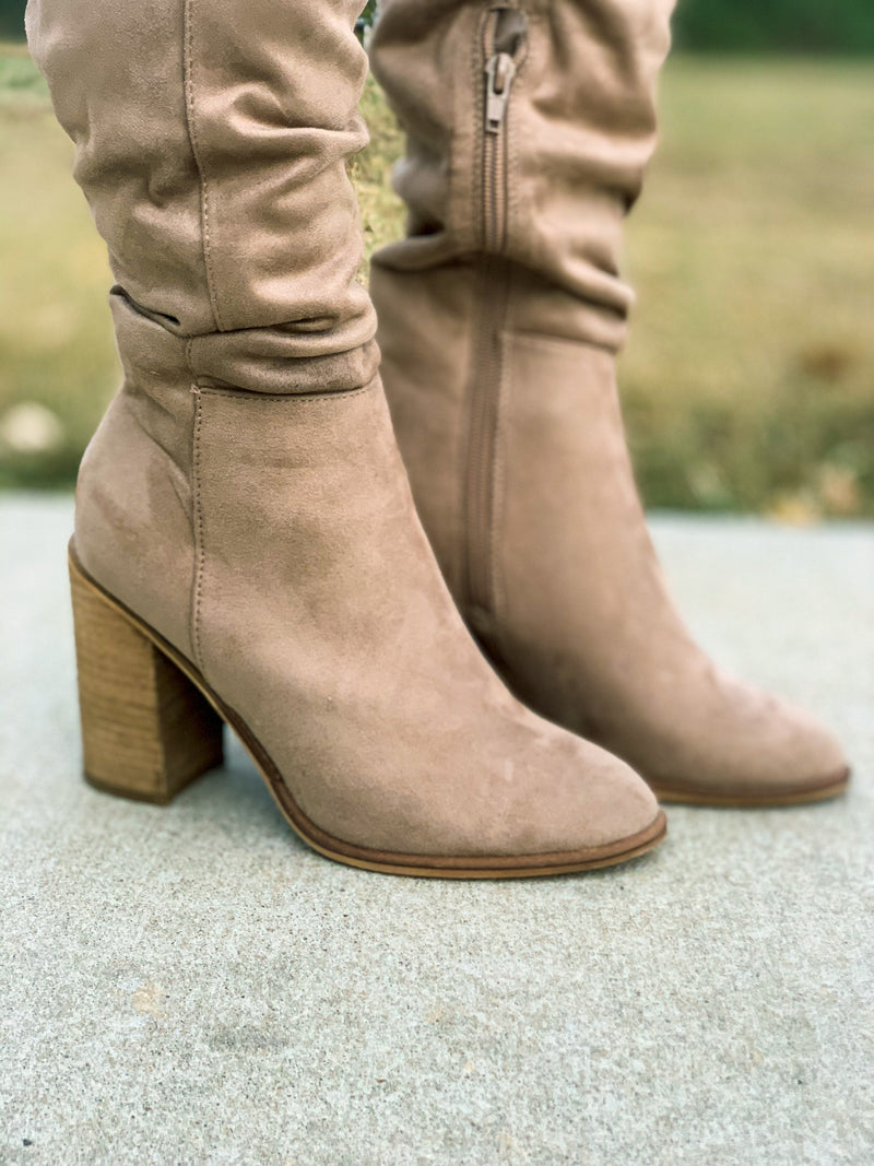 Beige Knee High Boots