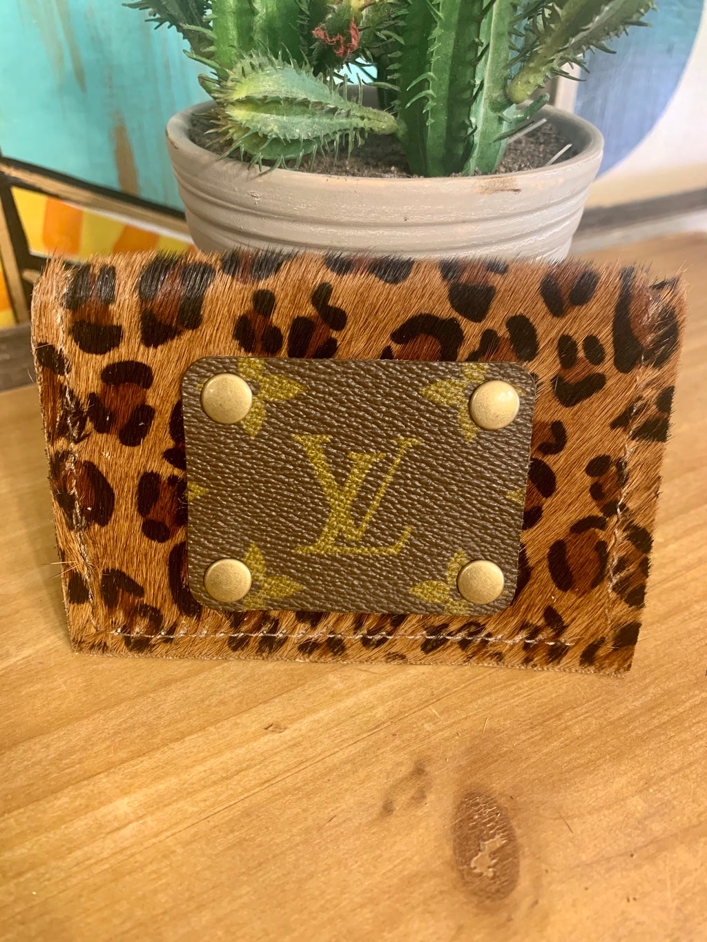 Upcycled Credit Card Holder-Dark Leopard Print