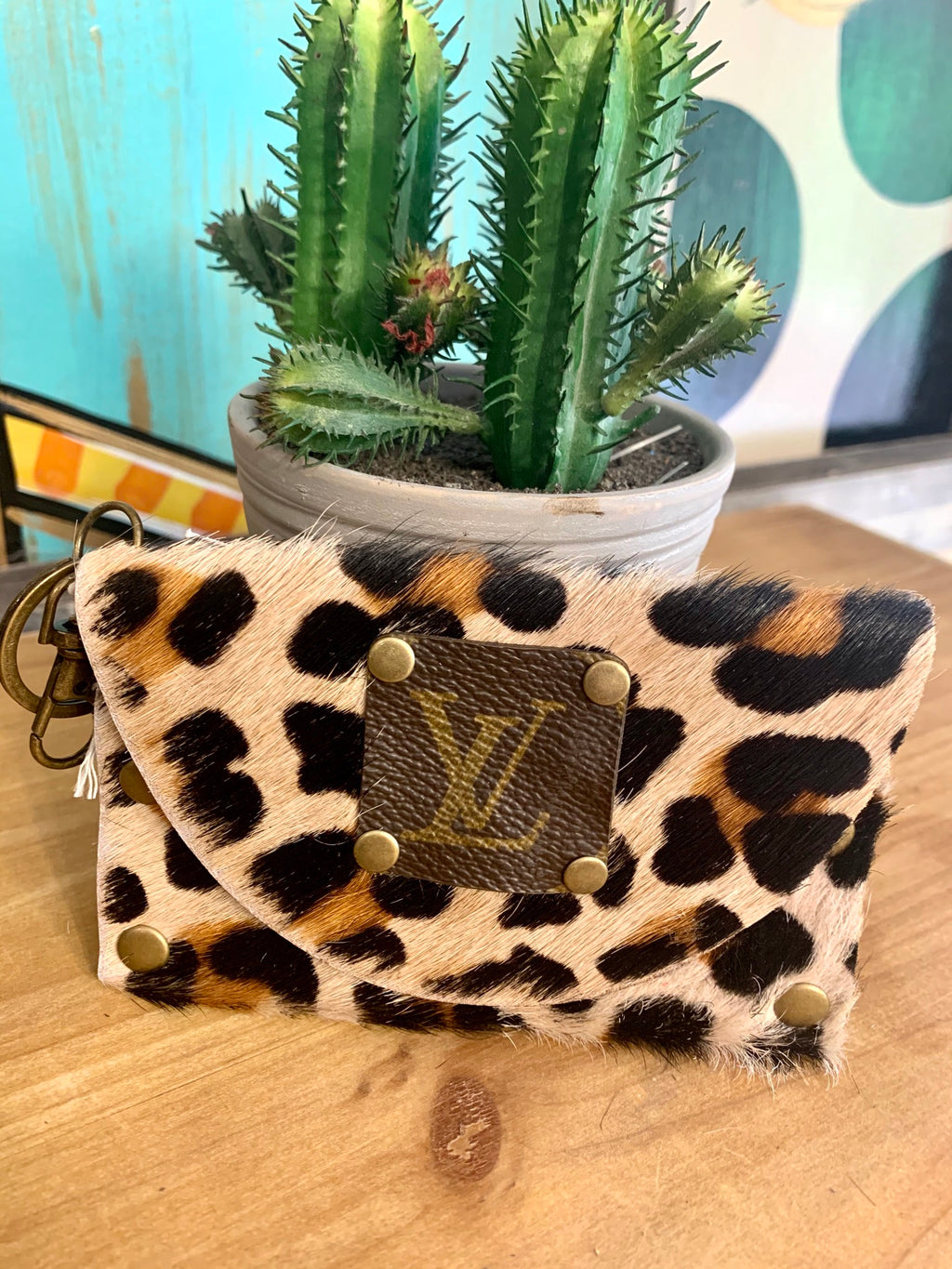 Upcycled Wristlet-Leopard Cowhide
