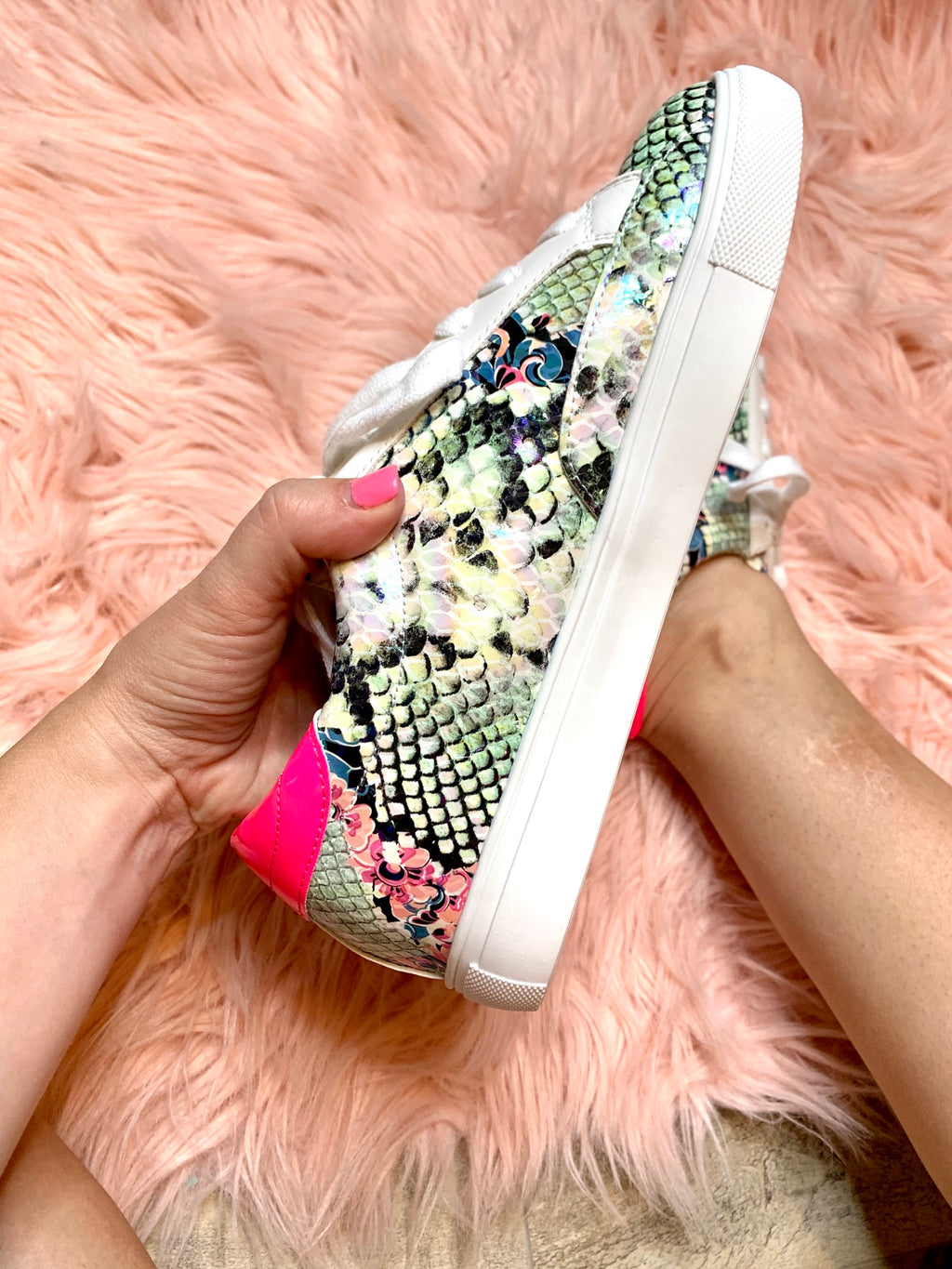 Hot Pink Star Snakeskin Sneakers