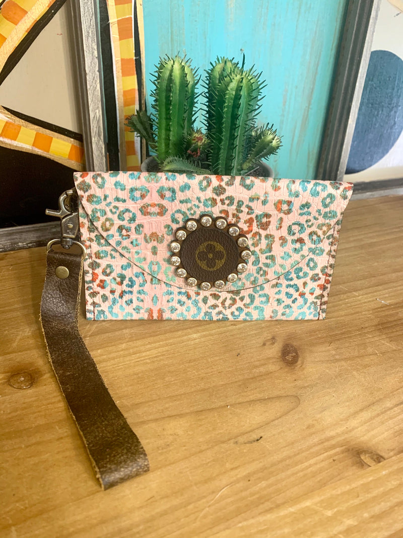 Upcycled Rhinestone Wristlet-Teal Leopard