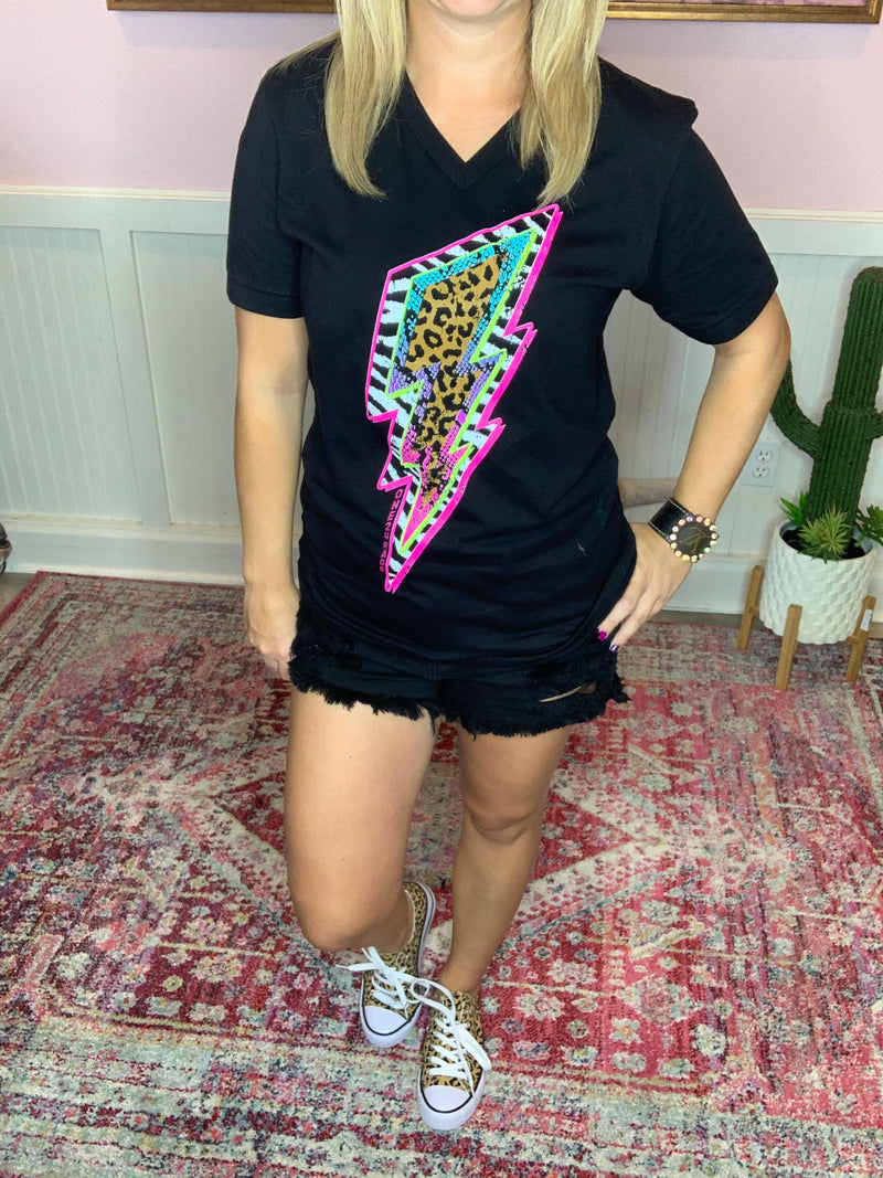 Neon Lightening Bolt Tee