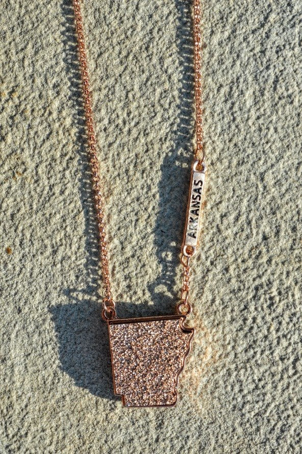 Arkansas Druzy Necklace-Rose Gold - The Pink Buffalo,LLC