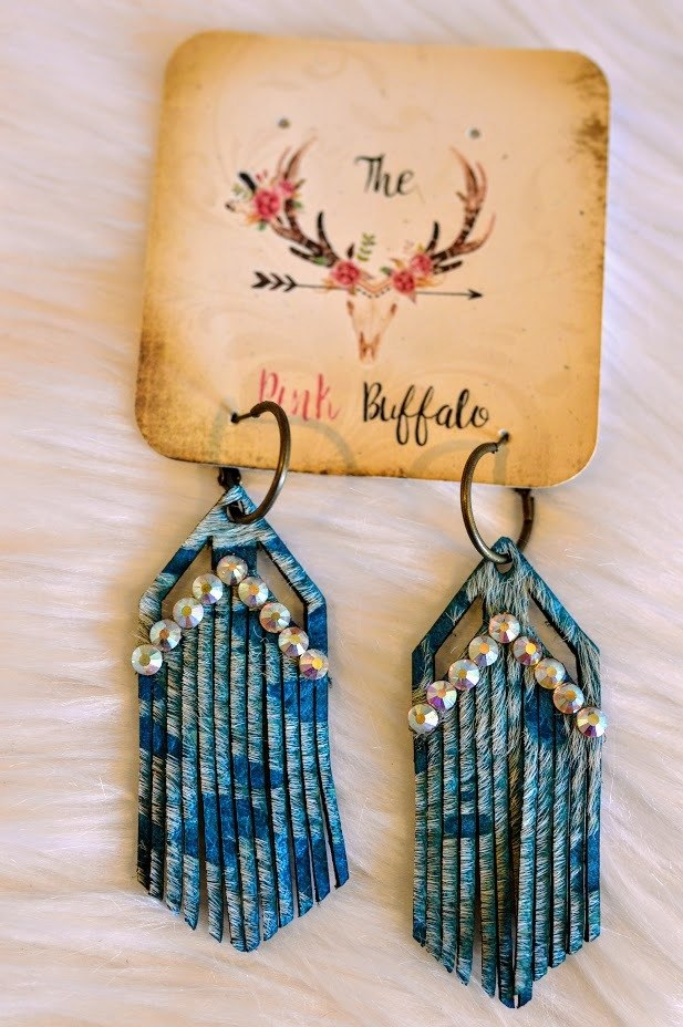 Arrowhead Fringe Earrings-Turquoise - The Pink Buffalo,LLC