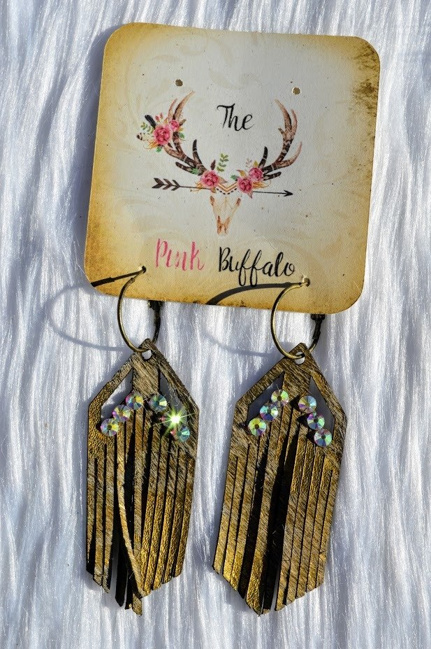 Arrowhead Fringe Earrings-Gold - The Pink Buffalo,LLC