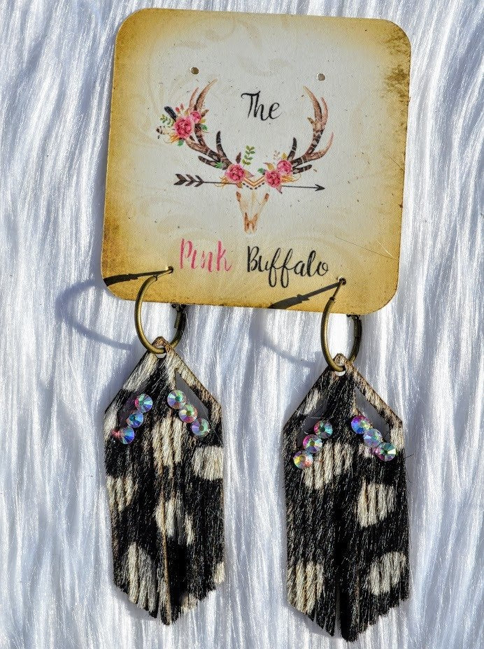Arrowhead Fringe Earrings-Speckled Black - The Pink Buffalo,LLC