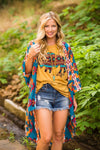 Aztec Kimono-Turquoise PLUS Size - The Pink Buffalo,LLC