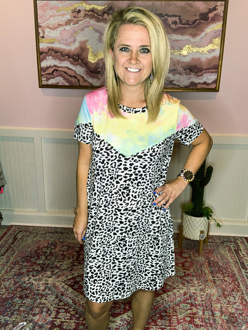 Tie Dye Leopard Dress