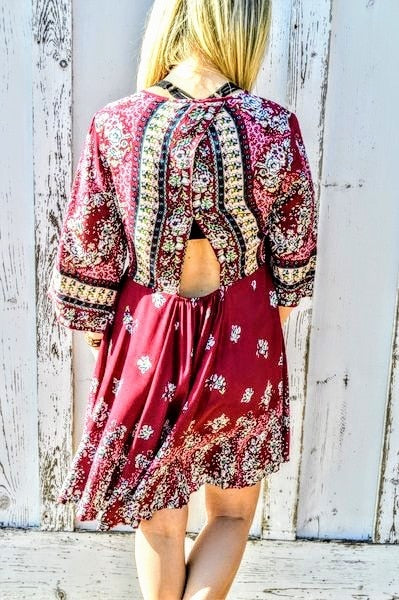 Burgundy Print  Dress with Mini Back Cutout - The Pink Buffalo,LLC