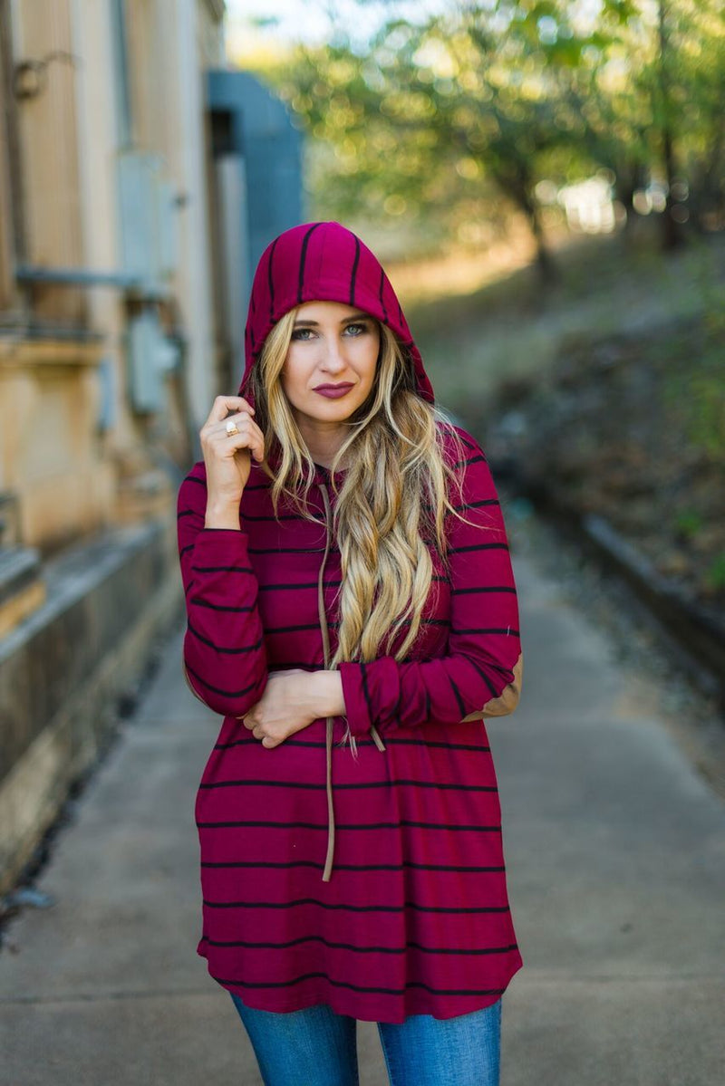 Burgundy Hoodie with Elbow Patch - The Pink Buffalo,LLC