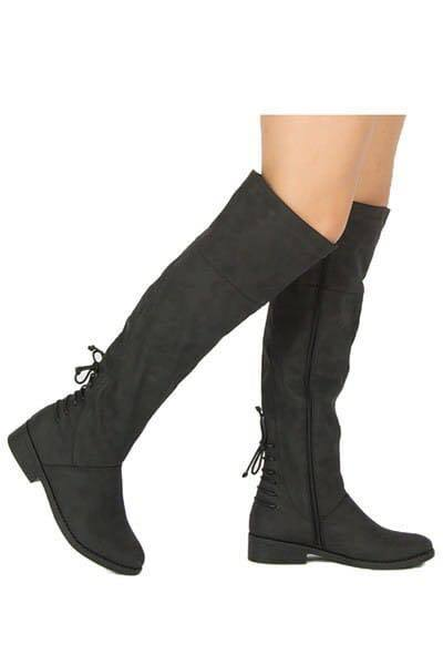 Black Suede Lace-Up Boots - The Pink Buffalo,LLC