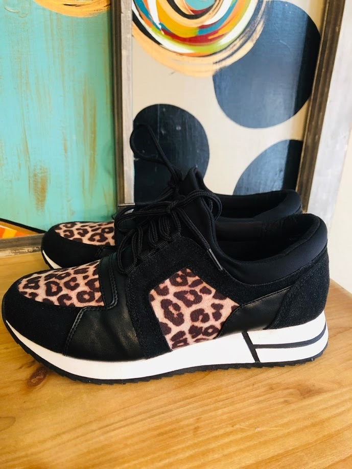 Black Leopard Sneakers - The Pink Buffalo,LLC