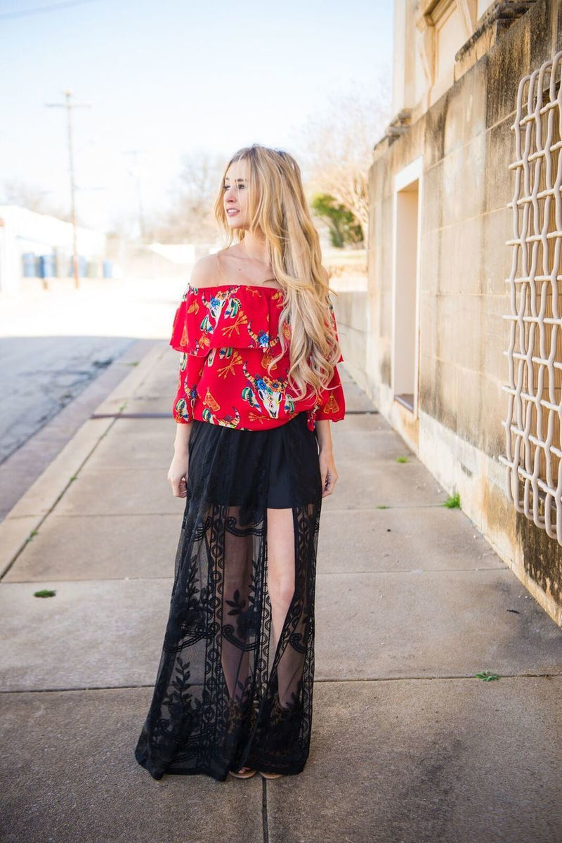 Black Lace Maxi Shorts - The Pink Buffalo,LLC