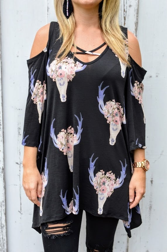 Black Off Shoulder Cowskull Top - The Pink Buffalo,LLC