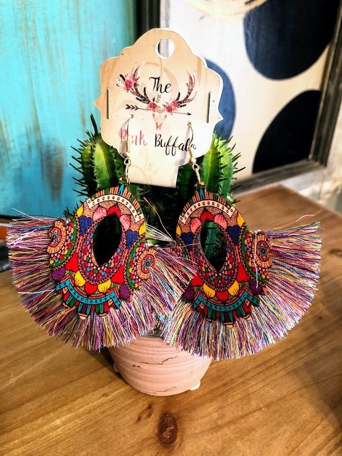 Boho Fringe Earrings - The Pink Buffalo,LLC