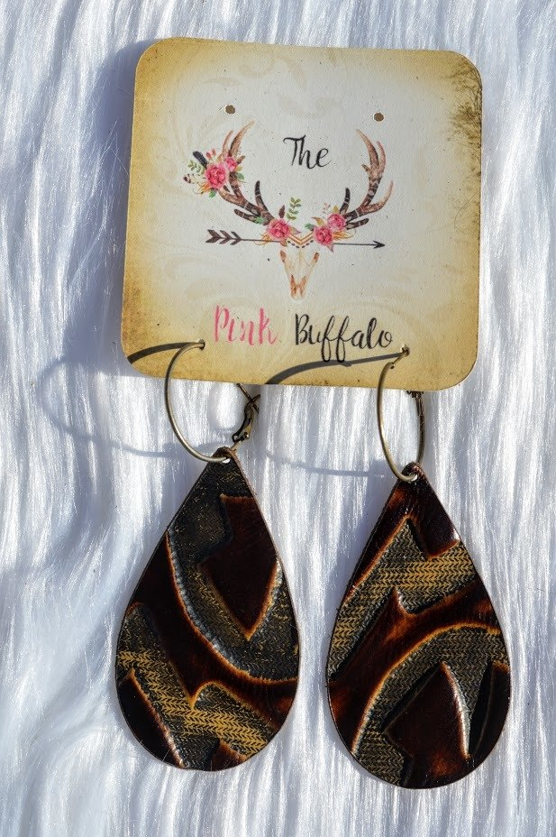 Brown Burnout Earrings - The Pink Buffalo,LLC