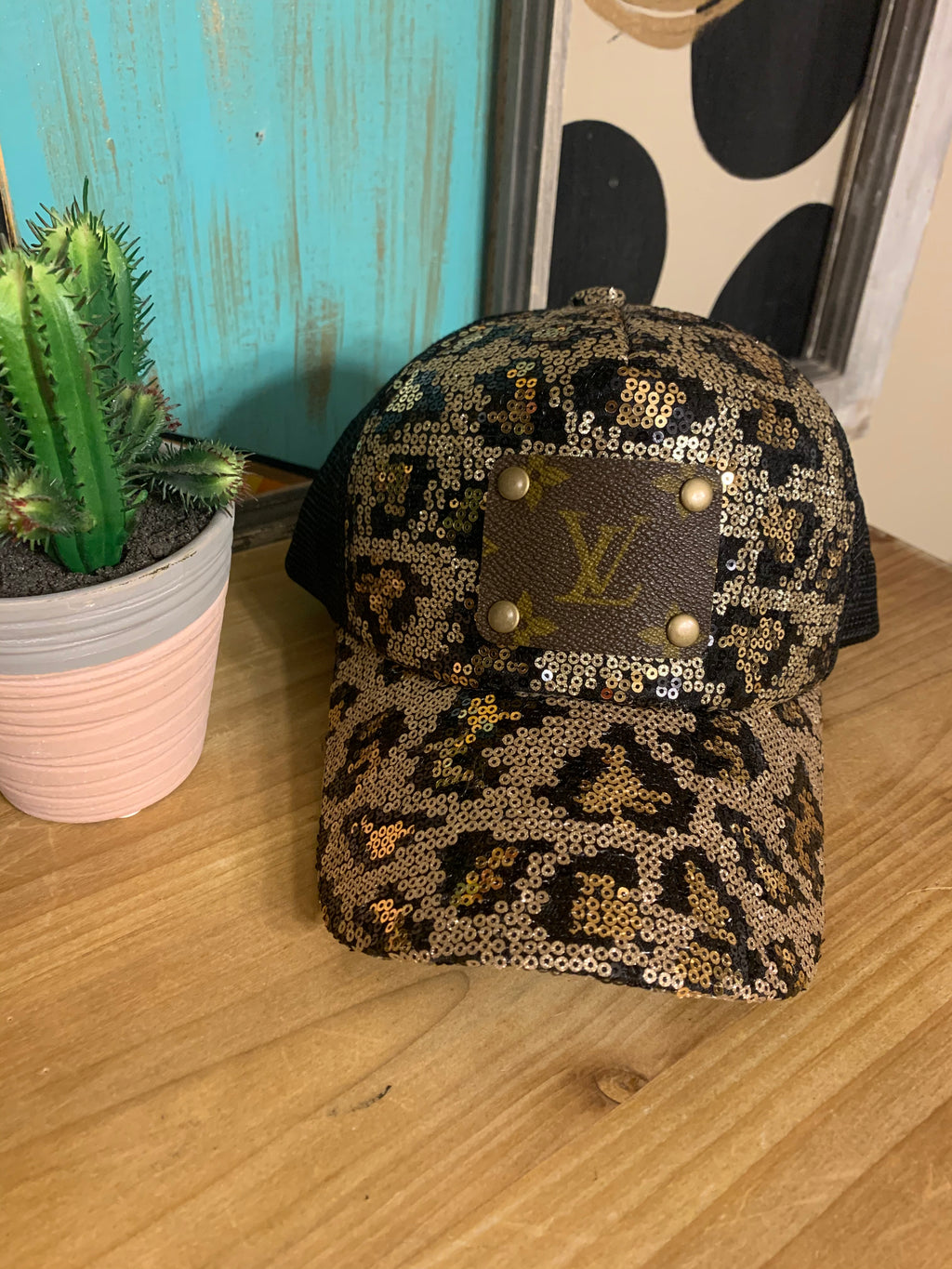 Leopard Print Sequin Upcycled Cap