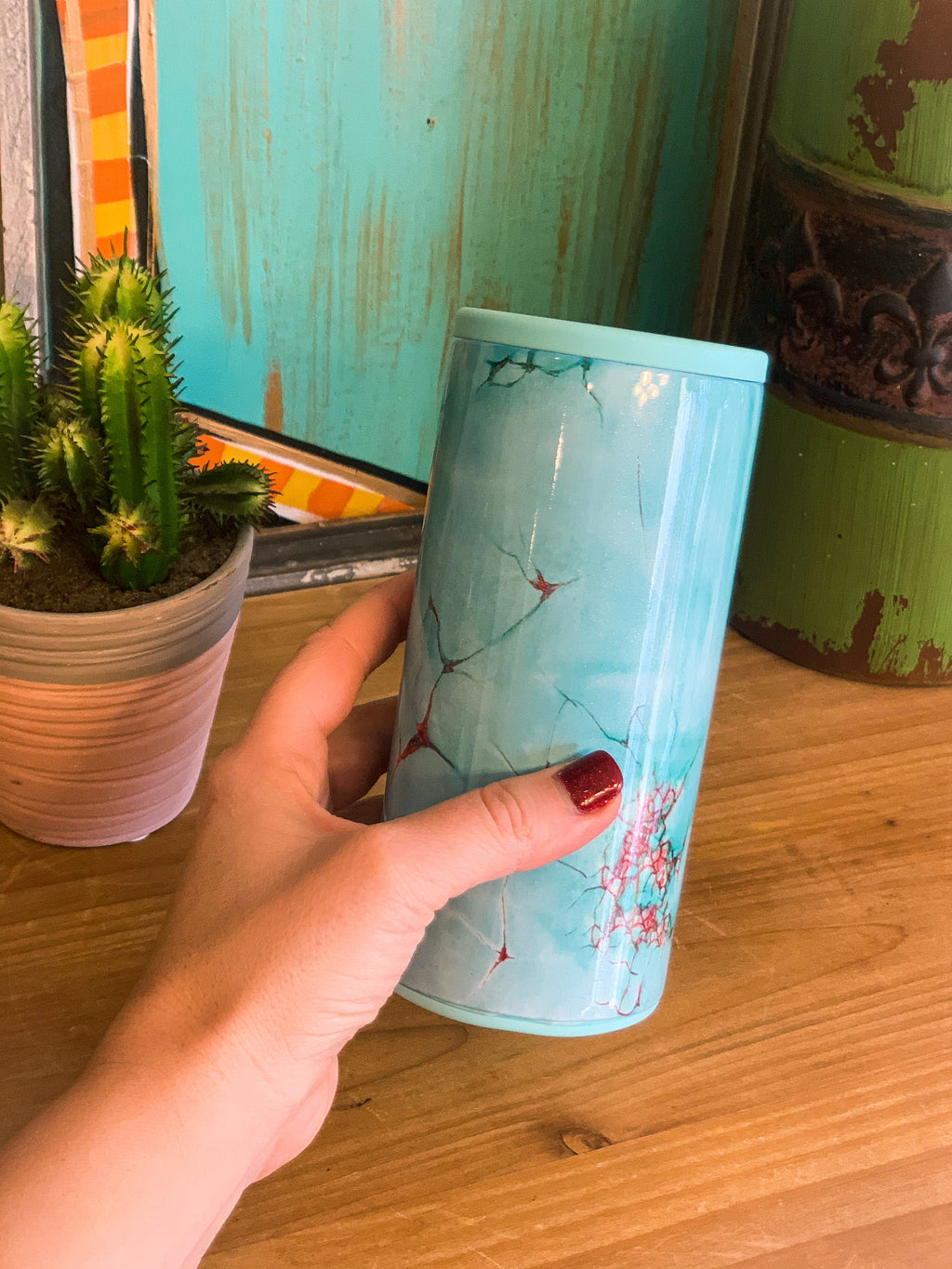 Turquoise Can Cooler