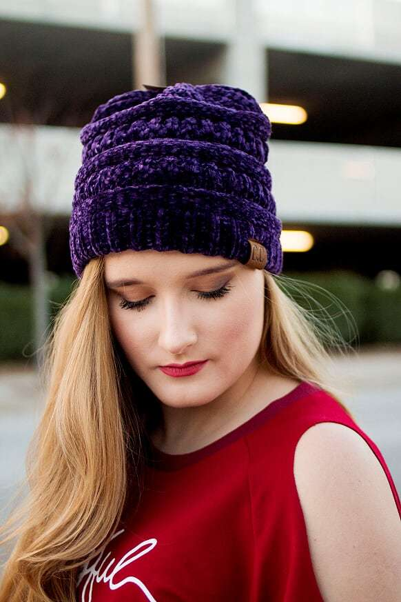 CC Velvet Beanie-Purple - The Pink Buffalo,LLC