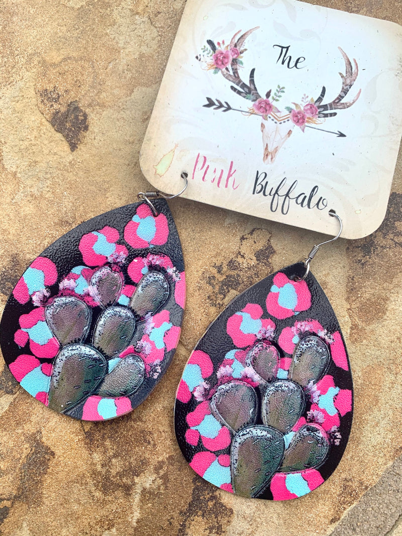 Cactus Leopard Earrings