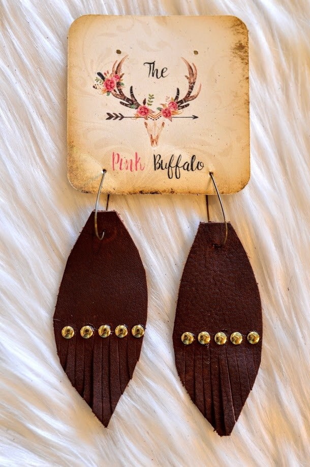 Fringe Earrings-Dark Brown