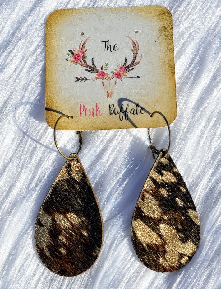Cowhide Metallic Gold Earrings - The Pink Buffalo,LLC
