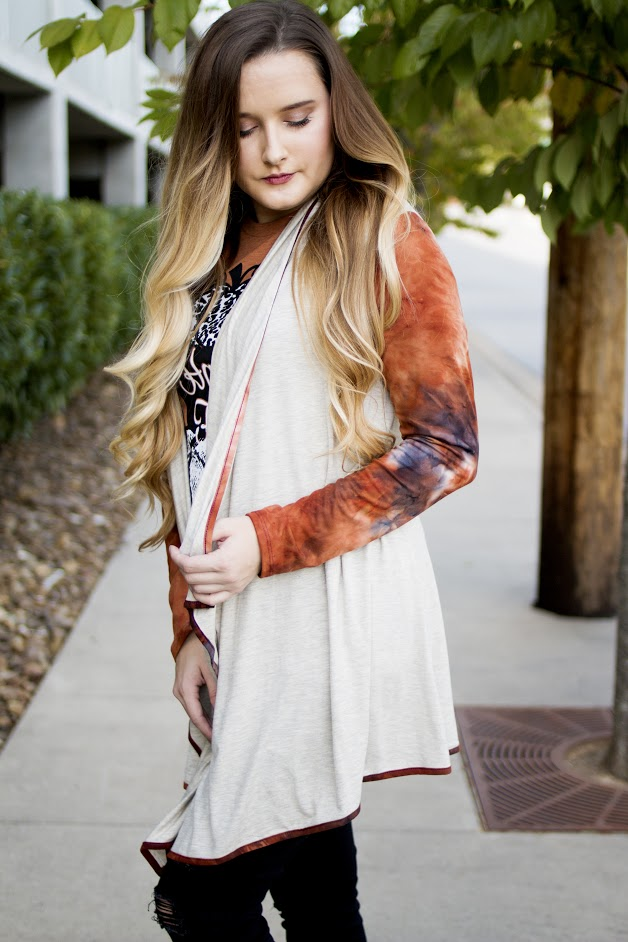 Creme Cardigan with Rust Sleeves