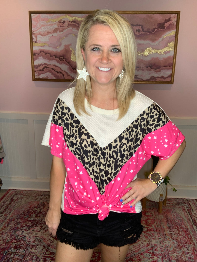 Star Leopard Top-Hot Pink