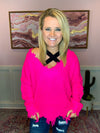Hot Pink V-Neck Frayed Sweater