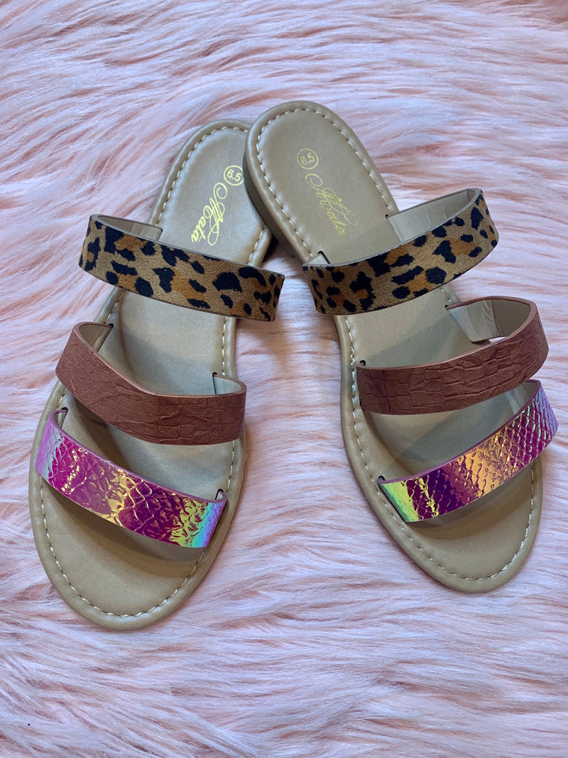 Leopard Irridescent Sandals