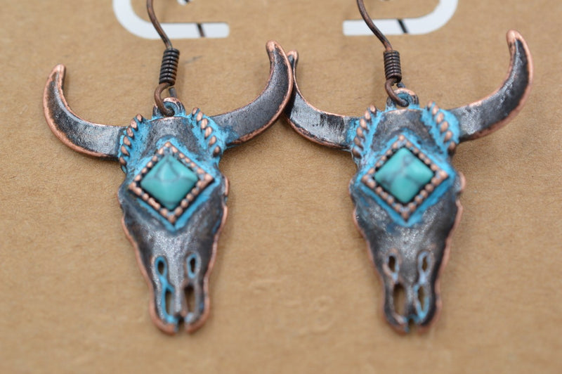 Longhorn Patina Earrings