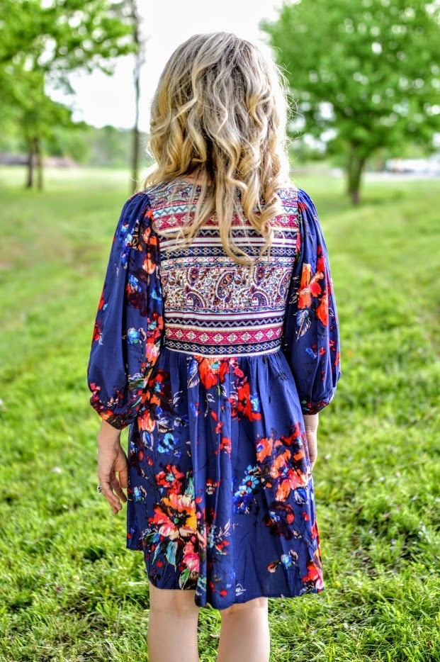 Floral Print Dress - Royal Blue