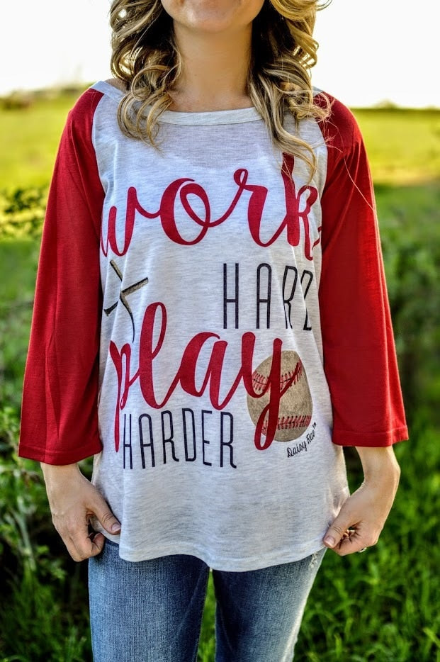 Work Hard, Play Harder Baseball Raglan