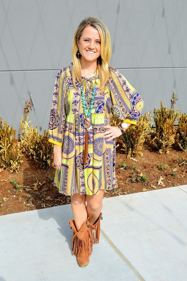 Yellow Aztec Dress