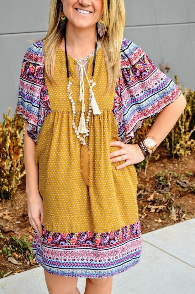 Print Peasant Dress with Kimono Sleeves