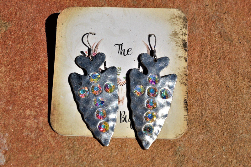 Rhinestone Arrowhead Earrings-Iridescent