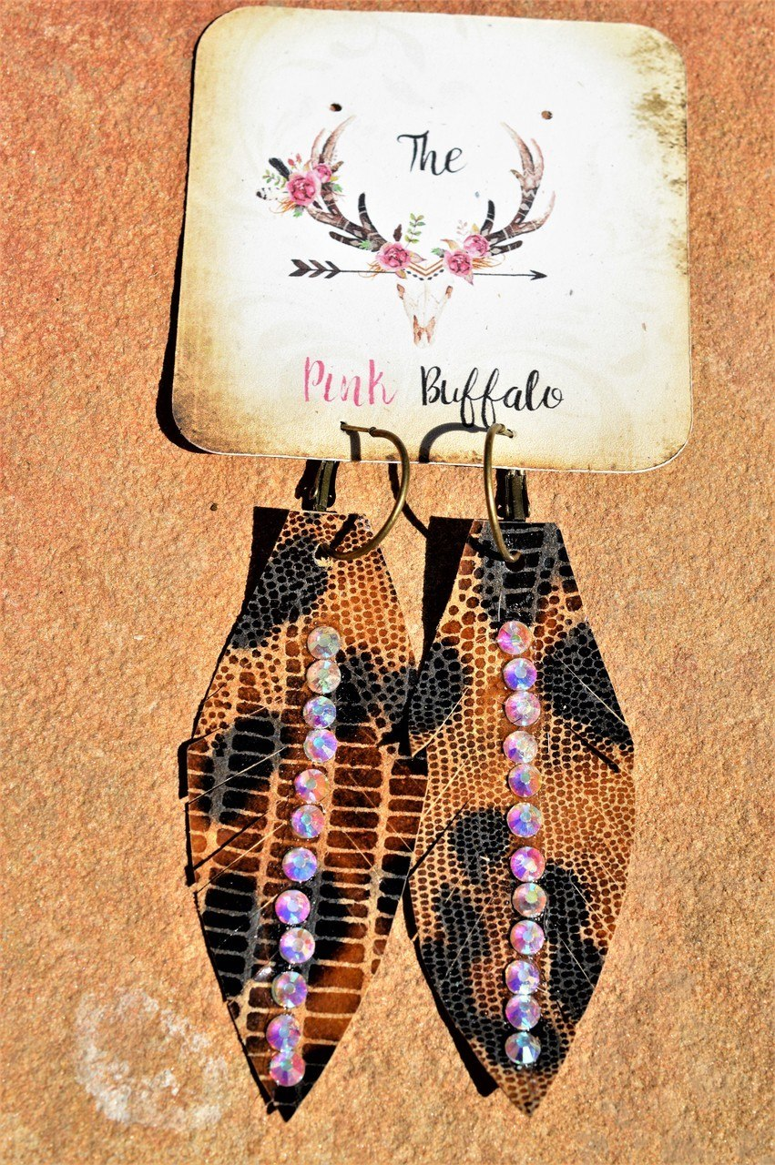 Rhinestone Leather Earrings-Leopard
