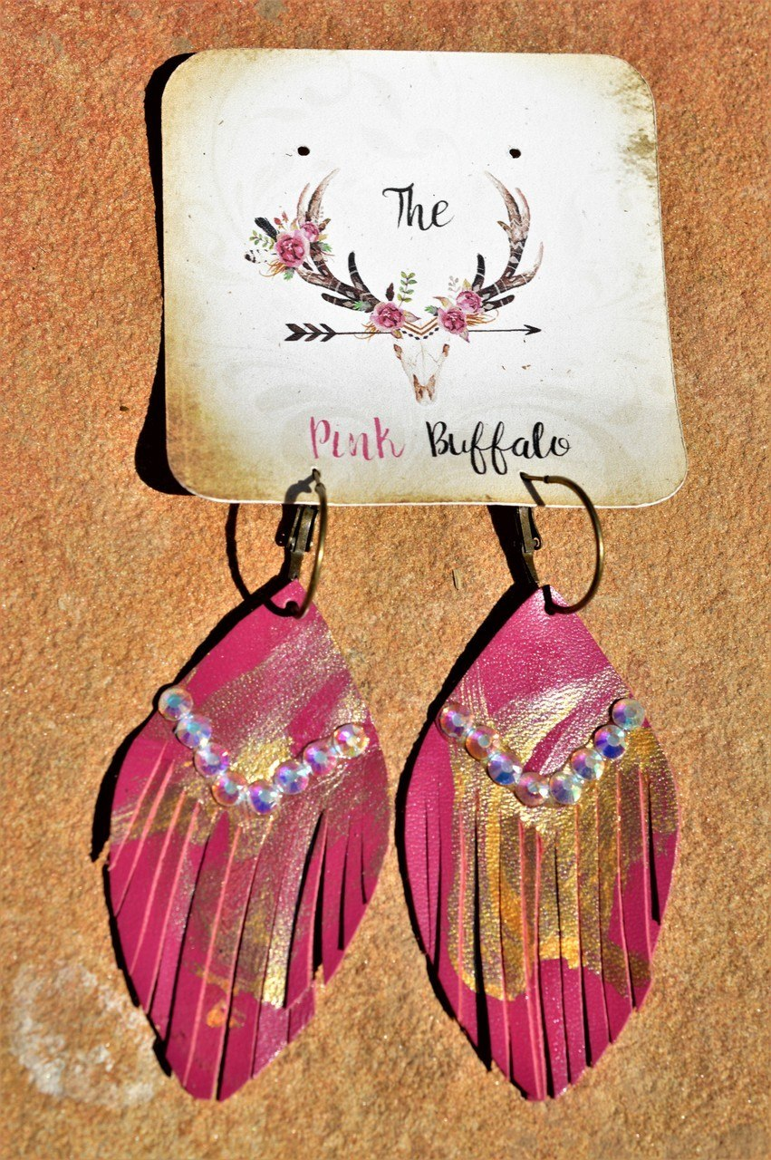 Rhinestone Leather Earrings-Pink