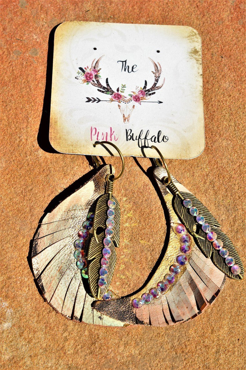 Rhinestone Leather Earrings-Creme