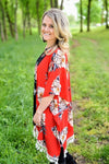 Red Floral Kimono with Tassel Hem