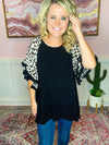 Leopard Print Sleeve Top-Black