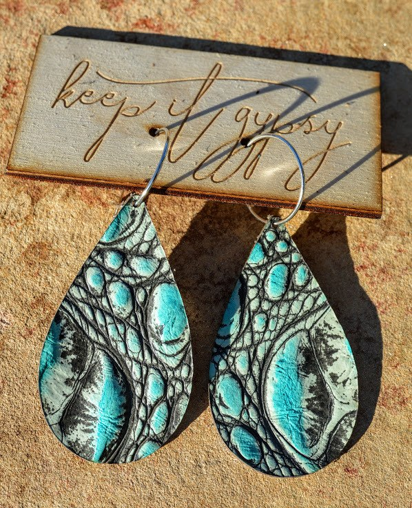Turquoise Gypsy Leather Earrings