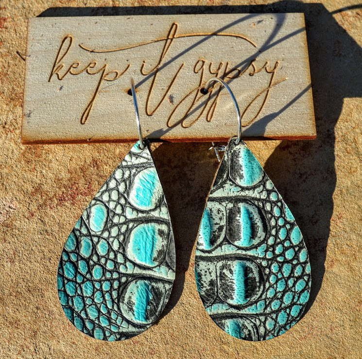The Turquoise Gypsy Leather Earrings