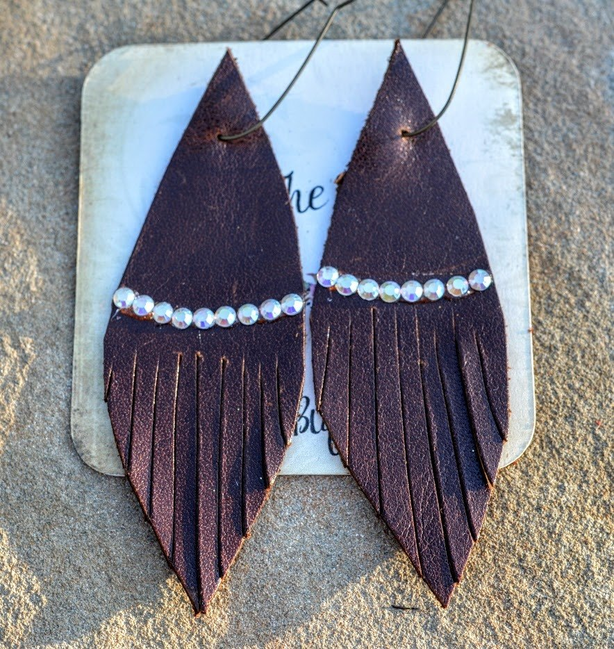 Leather Rhinestone Earrings-Chocolate